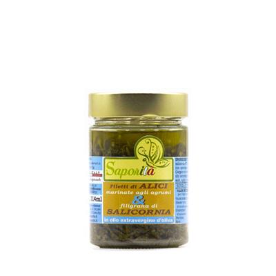 Salicornia e Filetti di Alici Marinate in olio evo - fronte